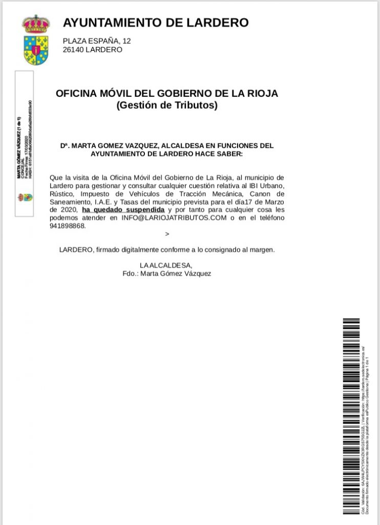 Oficina móvil del Gobierno de La Rioja (Gestión de Tributos)