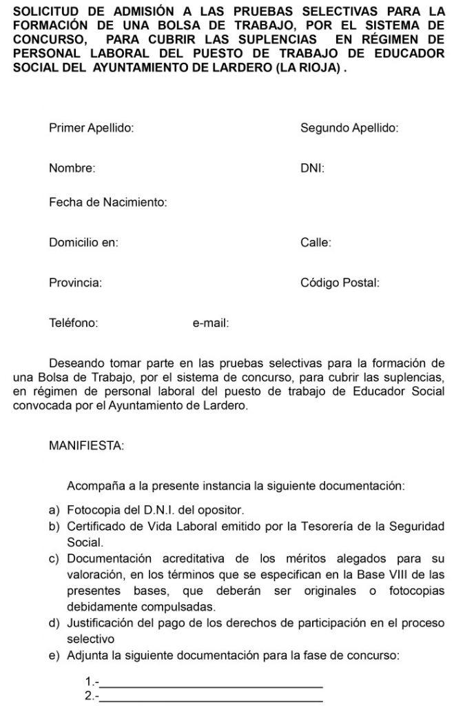 Microsoft Word - SOLICITUD DE SOLICITUD ADMISIÃfiN BOLSA DE TR