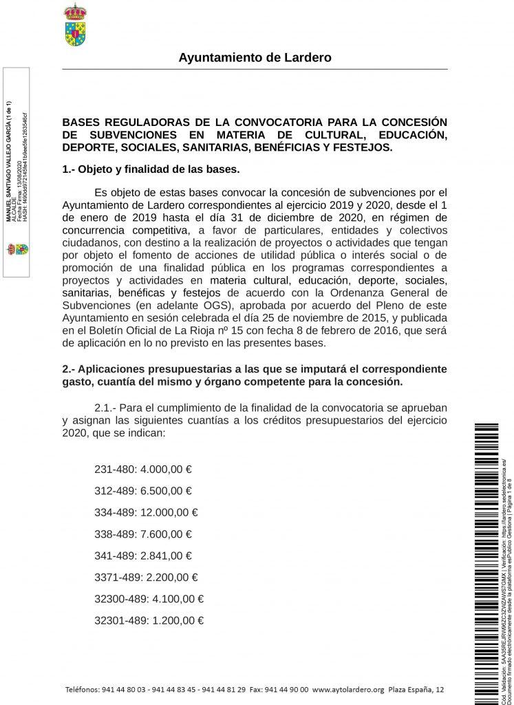20200813 bases reguladoras para la concesión de subvenciones